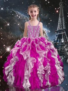 Fuchsia Straps Lace Up Beading and Ruffles Pageant Dress for Womens Sleeveless
