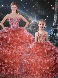 Fabulous Rust Red Lace Up Sweetheart Beading and Ruffles Vestidos de Quinceanera Organza Sleeveless