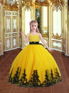 Gold Tulle Zipper Custom Made Pageant Dress Sleeveless Floor Length Lace and Appliques