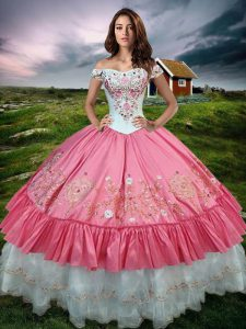 Suitable Sleeveless Floor Length Beading and Embroidery and Ruffled Layers Lace Up Quinceanera Gowns with Hot Pink