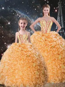 Exquisite Orange Organza Lace Up Sweetheart Sleeveless Floor Length Sweet 16 Quinceanera Dress Beading and Ruffles