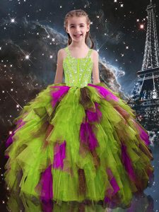 Floor Length Ball Gowns Sleeveless Yellow Green Pageant Dress for Teens Lace Up
