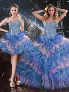 New Arrival Multi-color Sleeveless Beading and Ruffled Layers and Sequins Floor Length Sweet 16 Dresses