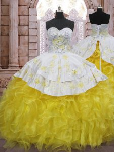 Custom Designed Yellow And White Ball Gowns Organza Sweetheart Sleeveless Beading and Appliques and Ruffles Lace Up Vestidos de Quinceanera Brush Train
