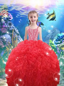 Coral Red Organza Lace Up Pageant Dress Wholesale Sleeveless Floor Length Beading and Ruffles