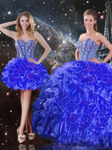 Nice Floor Length Blue 15th Birthday Dress Organza Sleeveless Beading and Ruffles