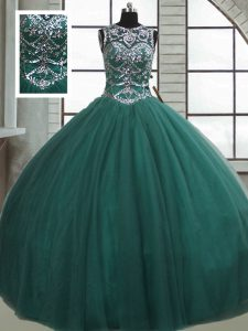 Tulle Scoop Sleeveless Lace Up Beading Quinceanera Gowns in Dark Green