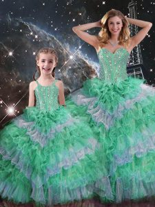 Smart Sleeveless Lace Up Floor Length Beading and Ruffled Layers Quinceanera Gowns