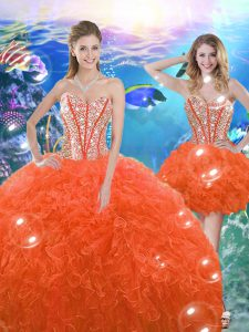 Orange Red Sweetheart Lace Up Beading and Ruffles Ball Gown Prom Dress Sleeveless