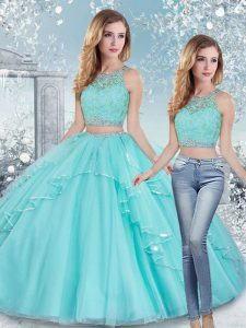 Most Popular Aqua Blue Sweet 16 Dress Military Ball and Sweet 16 and Quinceanera with Beading and Lace and Sashes ribbons Scoop Sleeveless Clasp Handle