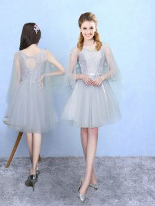 Artistic Knee Length Silver Quinceanera Dama Dress Square Half Sleeves Lace Up