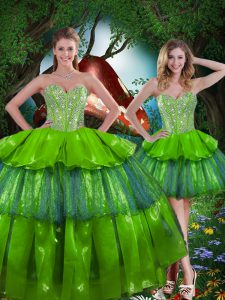 Olive Green Lace Up Sweet 16 Dresses Beading and Ruffled Layers Sleeveless Floor Length