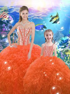 Best Selling Orange Red Lace Up Quinceanera Gowns Beading and Ruffles Sleeveless Floor Length
