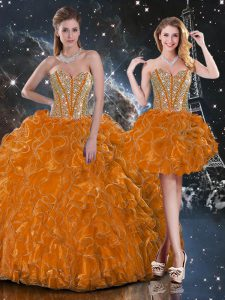 Super Floor Length Ball Gowns Sleeveless Rust Red Quince Ball Gowns Lace Up