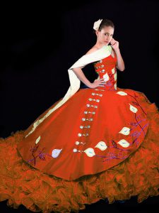 Affordable Rust Red V-neck Neckline Embroidery and Ruffles Quinceanera Dresses Sleeveless Lace Up