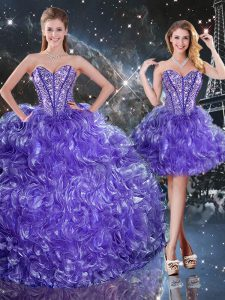Purple Sleeveless Floor Length Beading and Ruffles Lace Up Ball Gown Prom Dress