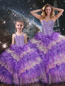 Custom Design Floor Length Lace Up Quince Ball Gowns Multi-color for Military Ball and Sweet 16 and Quinceanera with Beading and Ruffled Layers and Sequins