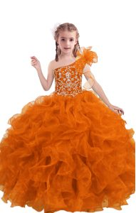 Organza One Shoulder Sleeveless Lace Up Beading and Ruffles Pageant Dress Womens in Orange Red