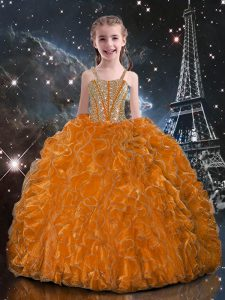 Ball Gowns Pageant Dress for Womens Orange Red Straps Organza Sleeveless Floor Length Lace Up