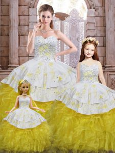 Yellow And White Sleeveless Floor Length Beading and Appliques and Ruffles Lace Up Quinceanera Gowns