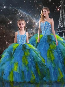 Inexpensive Sweetheart Sleeveless Lace Up 15th Birthday Dress Multi-color Organza