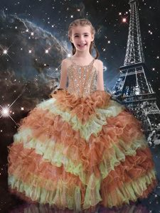 Beading and Ruffled Layers High School Pageant Dress Orange Red Lace Up Sleeveless Floor Length