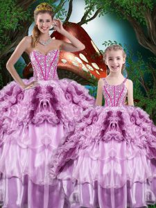 Organza Sweetheart Sleeveless Lace Up Beading and Ruffles and Ruffled Layers Ball Gown Prom Dress in Multi-color