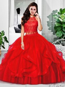 Beauteous Tulle Sleeveless Floor Length Vestidos de Quinceanera and Lace and Ruffles