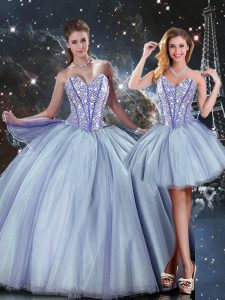 Exceptional Sweetheart Sleeveless Lace Up Quince Ball Gowns Blue Tulle