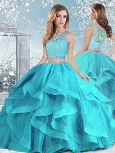 Unique Aqua Blue Scoop Neckline Beading and Ruffles Quince Ball Gowns Sleeveless Clasp Handle
