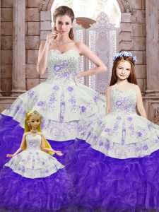 White And Purple Sleeveless Floor Length Beading and Appliques and Ruffles Lace Up Quinceanera Dresses