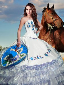 Inexpensive Organza Sleeveless Floor Length Quinceanera Dress and Embroidery and Ruffled Layers