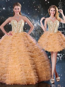 Custom Designed Sleeveless Organza Floor Length Lace Up 15 Quinceanera Dress in Orange with Beading and Ruffled Layers