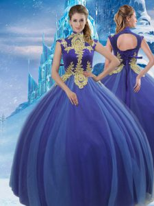 Gorgeous Royal Blue Sleeveless Tulle Lace Up Sweet 16 Quinceanera Dress for Military Ball and Sweet 16 and Quinceanera