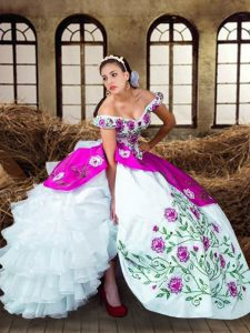 Fabulous Multi-color Lace Up Sweet 16 Quinceanera Dress Embroidery and Ruffled Layers Sleeveless Floor Length