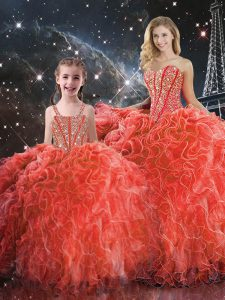 Coral Red Organza Lace Up Quinceanera Gowns Sleeveless Floor Length Beading and Ruffles