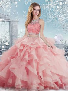 Admirable Sleeveless Beading and Ruffles Clasp Handle Vestidos de Quinceanera