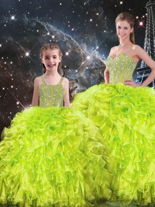 Beading and Ruffles Quinceanera Dresses Yellow Green Lace Up Sleeveless Floor Length