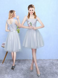 Ideal Square Sleeveless Lace Up Quinceanera Court Dresses Silver Tulle
