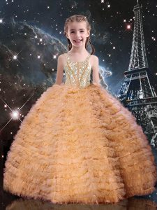 Sweet Orange Red Sleeveless Tulle Lace Up Pageant Dresses for Quinceanera and Wedding Party