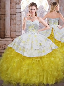 Yellow And White Ball Gowns Sweetheart Sleeveless Organza Floor Length Lace Up Beading and Appliques and Ruffles Quinceanera Dresses
