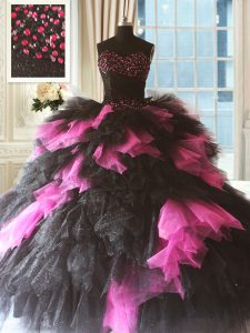 Pink And Black Ball Gowns Sweetheart Sleeveless Tulle Floor Length Lace Up Beading and Ruffles Ball Gown Prom Dress