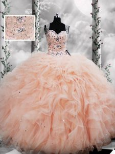 Floor Length Lace Up Quinceanera Dress Peach for Military Ball and Sweet 16 and Quinceanera with Beading and Ruffles