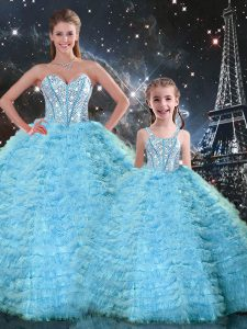Beading and Ruffles 15 Quinceanera Dress Light Blue Lace Up Sleeveless Floor Length