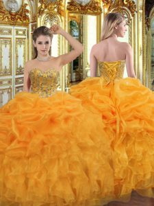 Deluxe Orange Sleeveless Floor Length Beading and Ruffles Lace Up Ball Gown Prom Dress