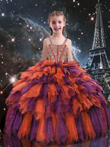 Straps Sleeveless Pageant Dress Wholesale Floor Length Beading and Ruffles Rust Red Tulle