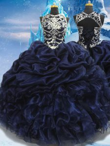 Navy Blue Sleeveless Taffeta Lace Up Sweet 16 Quinceanera Dress for Military Ball and Sweet 16 and Quinceanera