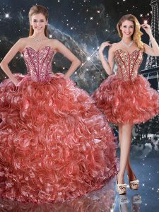 Beading and Ruffles Quinceanera Gowns Rust Red Lace Up Sleeveless Floor Length