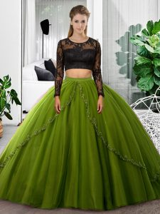 Scoop Long Sleeves Backless Quinceanera Dress Olive Green Tulle