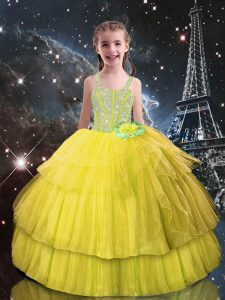 Floor Length Lace Up Glitz Pageant Dress Light Yellow for Quinceanera and Wedding Party with Beading and Ruffled Layers
